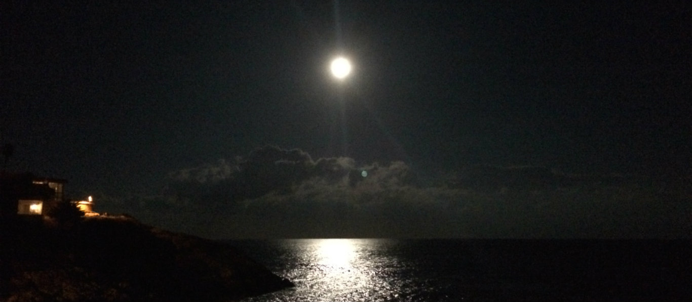 Moon over Sant Felui Sea 1366 x 597