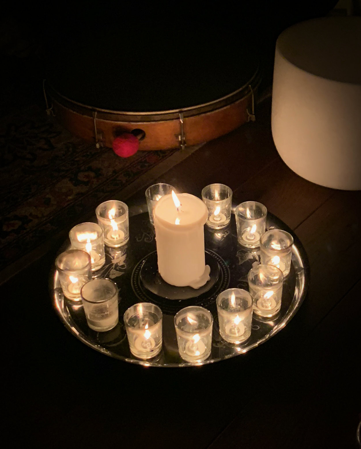 Circle of Candles with Drum and Bowl